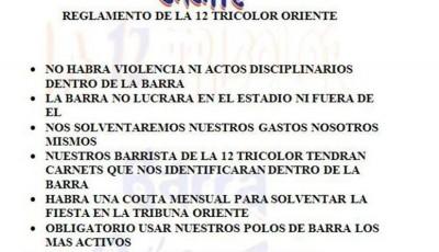 Reglamento de La 12 Tricolor