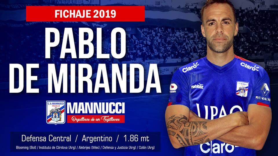 El experimentado defensor central argentino Pablo de Miranda es la flamante  incorporación tricolor para la presenta campaña 2019 en Primera. 3663688b17cab